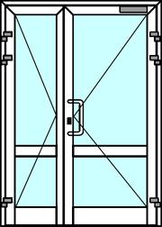 Алюминиевая дверь двупольная